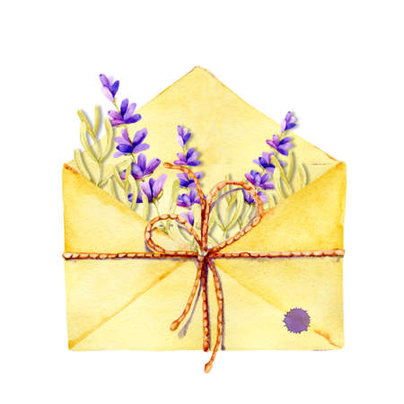 Open mail envelope with flowers and twigs inside. Hand drawn closeup watercolor illustration isolated on white background. Design of the holiday of love, Valentines Day, International Womens Day.