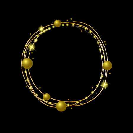 Round gold and glitter frame made of simple elements. Vector illustration on a black background, for the design of invitations, cards, greetings, announcements Ilustracja