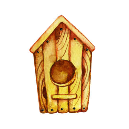 Wooden birdhouse, house for animals. Hand drawn closeup watercolor illustration isolated on white background. The concept of spring, animal welfare. Standard-Bild