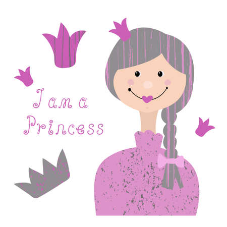 Portrait of a cute smiling girl with a crown on her head. Cartoon vector illustration on a white background. Lettering I am a Princess. Design pajamas, fabrics, t-shirts, baby clothes.