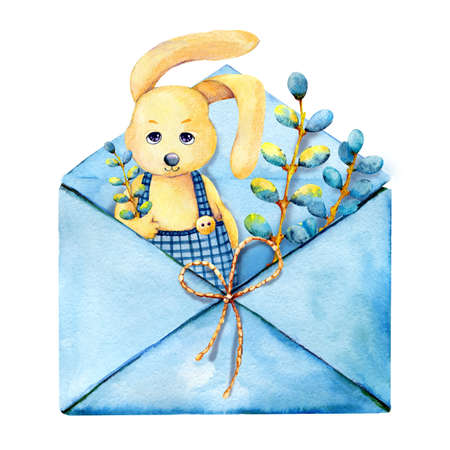 Cute easter bunny boy with a pussy-willow twig looks out from an open envelope and congratulates on the occasion. Hand watercolor illustration isolated on white background. Design for holiday products