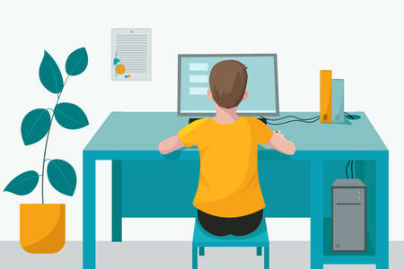 Remote home-based online training. A schoolboy with a computer sits at a table in his house and listens to a school lesson. Vector flat illustration. The concept of individual and distance learning.