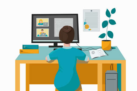 The teacher conducts online distance school lessons with children. Schoolchildren, are studying online at home using a computer and laptop. Vector illustration. Training in urban isolation. Vector Illustration