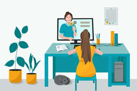 Remote home-based online training. A schoolgirl with a computer sits at a table in his house and listens to a school lesson. Vector flat illustration. The concept of individual and distance learning. Vecteurs