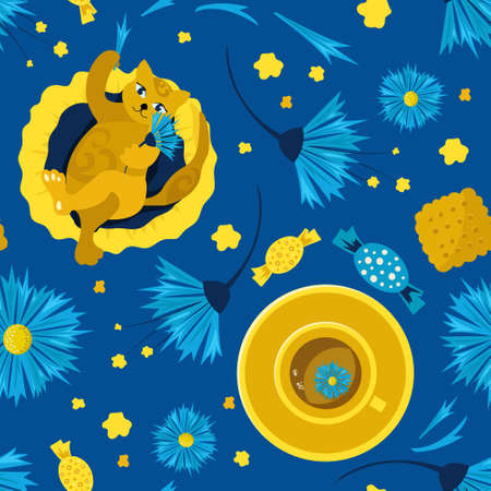 Seamless pattern with cats on a pillow and favorite tea with chicory flowers and cornflowers. Concept of home comfort. illustration. Design of children products, background, cover, wallpaper. Ilustracja