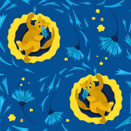 Seamless pattern with cat on a pillow. Fortune telling on the flower petals of a cornflower. Concept of home comfort. illustration. Design of childrens products, background, cover, wallpaper. Ilustracja