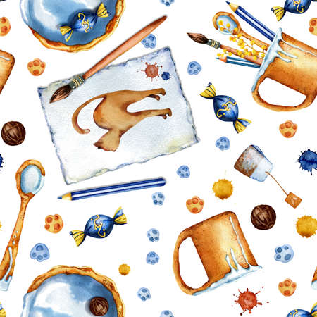 A cozy tea party and drawing. Seamless pattern with a mug, candy, plate, spoon, cat, pattern, brush, pencil, blots. Watercolor illustration. The concept of childrens creativity and learning.