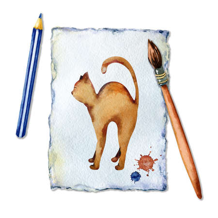 Cat on a sheet of paper. The artist paints a cat with a brush, watercolors and pencil. The concept of childrens creativity and hobbies. Hand watercolor illustration on a white background. Foto de archivo