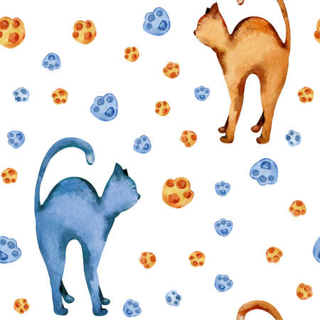 Seamless pattern with cats and footprints. Watercolor illustration isolated on white background. Design of childrens products, packaging, textiles, fabrics, wallpapers, wrappers, bedding, print.