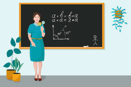 A teacher stands near the blackboard in the classroom and teaches a math lesson. Vector illustration. Concept of learning, education, knowledge, distance learning, soon to school, testing students.