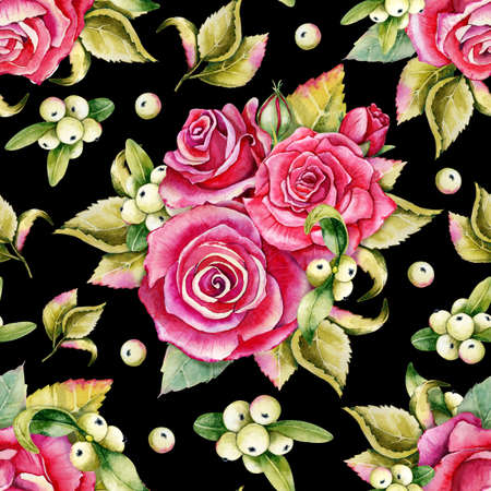 Seamless pattern with rose buds and leaves. Watercolor llustration on black background. For the design of shawl, handkerchief, weddings, dress, fabrics, wallpaper, pattern, digital paper, costume.