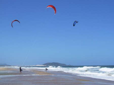 Kitesurfing in Florianopois - Brazil Stock Photo - 632154