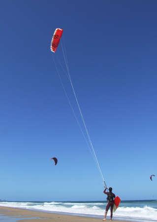 kitesurfen: Kitesurfen in Florianopois - Brazilië  Stockfoto