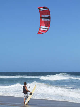 kitesurfing: Kitesurfing in Florianopolis - Santa Catarina - Brazil Stock Photo