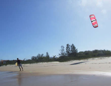 kitesurfing:  Kitesurfing in Florianopolis - Brazil Stock Photo
