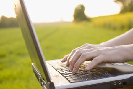 Woman typing on a laptop outside in a meadow. Motion blured fingers because they are moving. Stock Photo