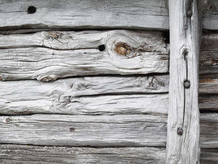 Detail of an old wooden hut in Norway