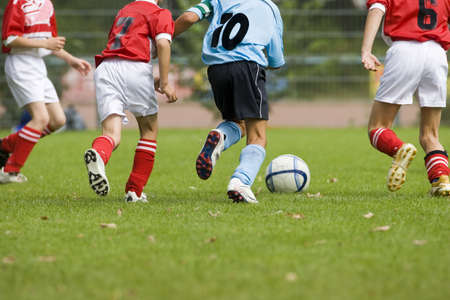 Detail of a soccer game with four players in action Stock Photo - 876374