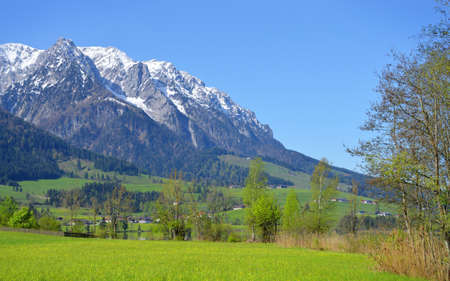 Beautiful great Alpen trip resort mountainside vista panorama. Tall white rocky crag at bright blue heaven. green grass on shore of river. Rural sunlight springtime panoramic scenic view