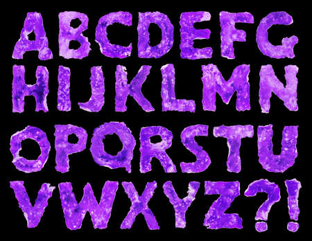 Vintage decrepit dark violet ink color cardboard latin typescript with light lilac spots on black backdrop with clipping path. Retro neon messy distort graphic style sketch