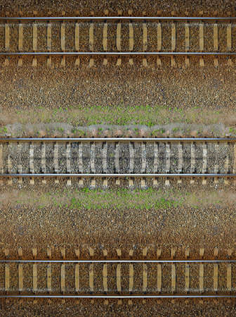 Seamless railroad Pattern, backdrop with space for text. Top view. Shiny iron rails and concrete sleepers, coupled with powerful bolts on stony ground, fortified rubble overgrown with weeds green  Reklamní fotografie
