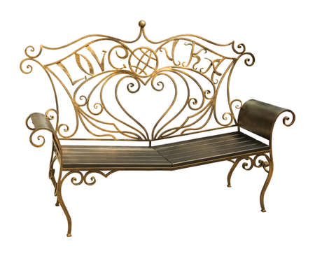 Forged iron park bench with ornate pattern in the shape of a heart and an inscription about love isolated on white background Stock Photo
