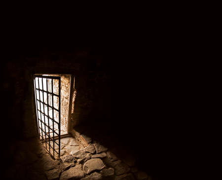 Arc fort passageway from cold damp Blackness to glow Light with rusted iron grate cell. Gaol rugged ominous shadow solid hallway with upward leading to day sunlight with space for text on sky backdrop Reklamní fotografie
