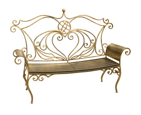 Forged iron park bench with ornate pattern in shape of heart isolated on white background with clipping path