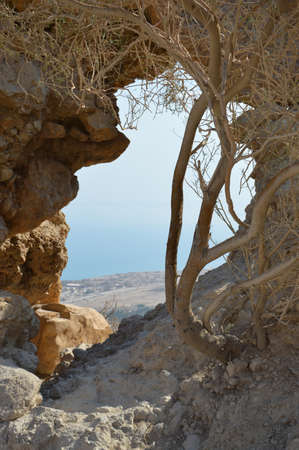 Arabian mideast scenic view. Old hollow in rocky wall of gorge formation En Gedy in national Judean desert on shore of Dead Lake near Masada and Qumran Cave. Place of hid biblical David from King Saul