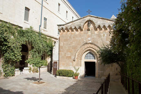 Yerushalayim, Middle East, May 2016. Pontius Pilates Yard Gabatha. Painful Way of Grief Suffering. Last route to crucifixion in passion friday. Scenic aged biblical quarter view. Old franciscan house Stock Photo