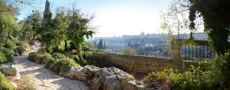 Yerushalayim, Middle East, May 2016. Old sacred capital of Judea. Archaic downtown panoramic view with space for text on blue sky background. Famous jew holy land worship place of judaic King David Reklamní fotografie