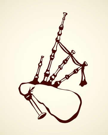 Great britain gaita dudelsack. Freehand outline black ink hand drawn popular classic dawdling pictogram emblem picture sketch in artistic antique doodle cartoon engraving style Ilustración de vector
