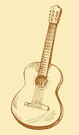 Classical acoustic guitar. Vector monochrome freehand black on white ink drawn backdrop sketch in art antique scrawl style pen on paper. View close-up with space for text