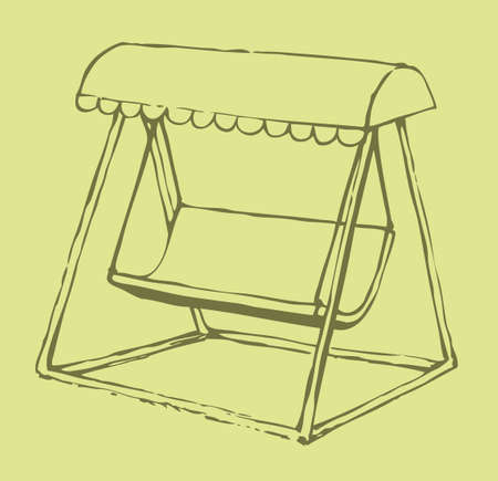 Vector sketch drawing bench-swing with a sun canopy