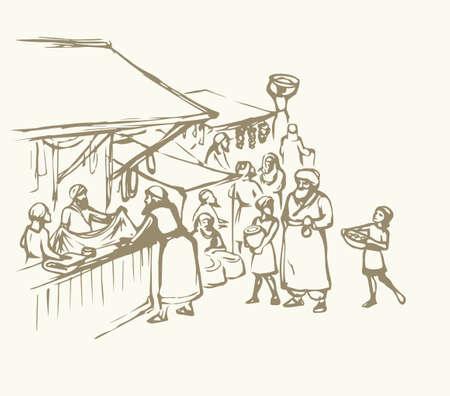 Biblical hebrew religion vendors kasbah man scene. Orient heritage Omani view. Antique fes pottery souq on white background. Saudi rabat bazar quarter picture sketch in vector iraq art graphic style Illusztráció