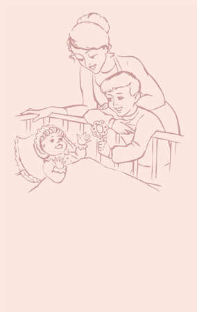 Veatorny picture. Loving mother and the boy talk and smile at the baby in the crib Illustration