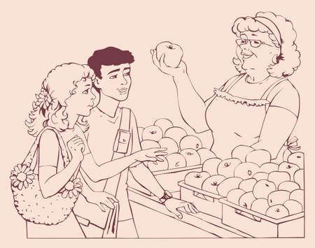 Vector drawing. Boy and girl consulted with the seller about the choice of apples for sale