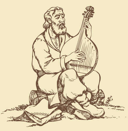Vector monochrome image handmade style drawing pen on paper. Old Ukrainian musician with a beard in national dress sitting on a log and pluck the strings of bandura
