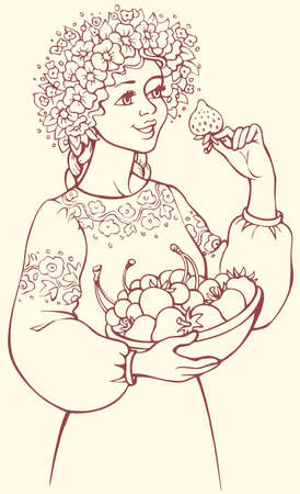 Vector freehand outline sketch picture. Wonderful young blonde girl in lush wreath of wildflowers cute smiling, holding dish of ripe yummy berries and looking at big juicy sweet strawberry in her hand Illusztráció