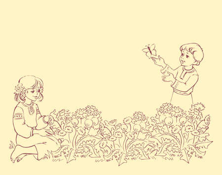 Vector decorative frame. Joyful children are walking in the meadow: a girl admires daisies and dandelions, and a boy playing with a butterfly Vetores