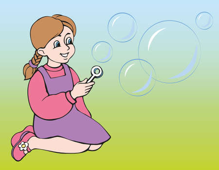 Vector illustration. The girl inflates soap bubbles Ilustração