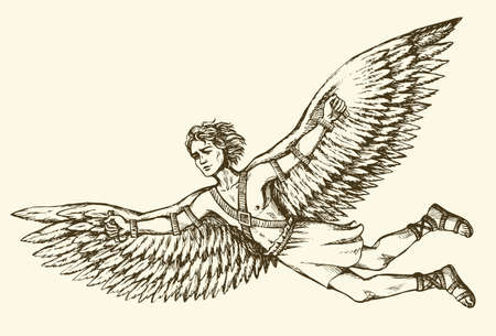 Greek Mythology character ICARUS is son of master craftsman DAEDALUS. Vector monochrome freehand ink drawn background sketchy in art scribble antiquity style pen on paper with space for text