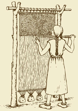 Vector monochrome illustration of ink. Woman weaves in ancient weaving machine