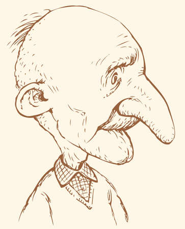 Vector caricature. Comic ink drawing of an old man