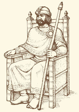 Noble great wise bearded aged Knyaz of Kievan Rus sit on luxury ornate wooden gilded seat with regal rod in hand and hat. Vector freehand ink drawn background sketch in art antiquity engraving style 矢量图像