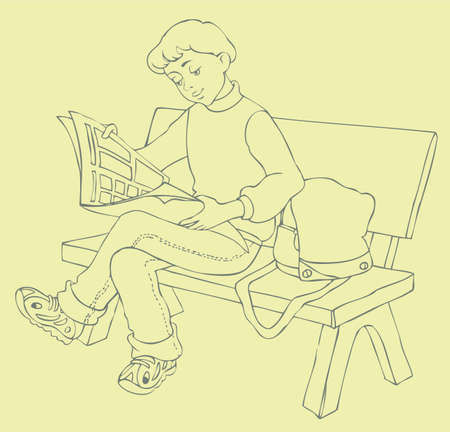 Vector Image. Young readers sat on a bench in the park read a magazine