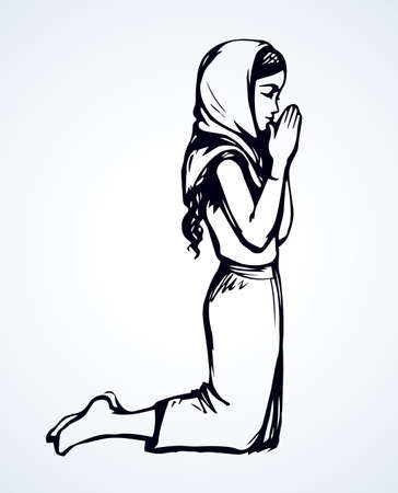Young worry sorrow sad problem pretty lady ask Lord Jesus. Retro art sketch white text space. Black line drawn side thank purity praise plead love fold arm beg adult bible soul logo sign icon concept