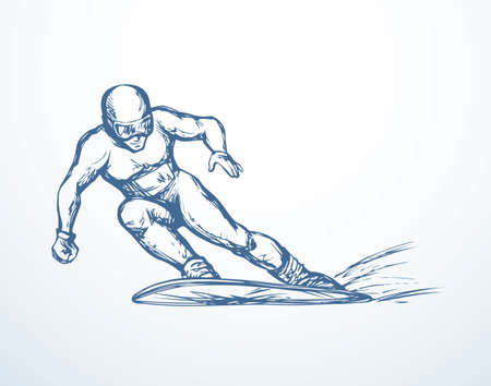 Young fast sporty fun healthy male person on white ice alp mountain wintertime background. Line black ink hand drawn picture sketchy in art modern doodle graphic style pen on paper with space for text