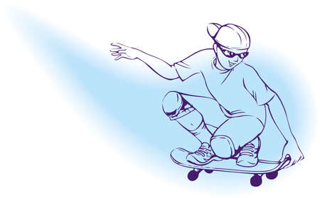 Vector illustration. A teenager on a skateboard scorcher
