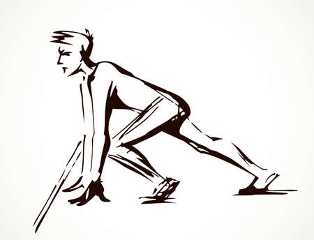 1 young healthy strong power office human body pose set leg wait fast go way. Outline black hand drawn health foot team career goal logo sign design art doodle style. Closeup view white sky text space